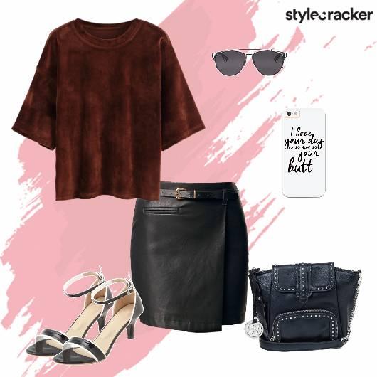 Top Fauxleather Skirt Crossbodybag Casual - StyleCracker