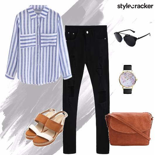 Shirt Distressedjeans Crossbodybag Wedges casual - StyleCracker