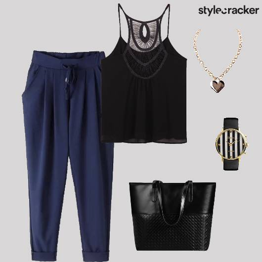 Top Trousers Tote Casual Coffee Date - StyleCracker
