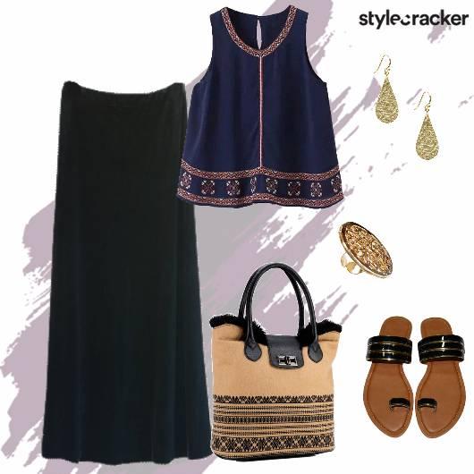 Top Maxiskirt Flats Totebag Indowestern Casual - StyleCracker