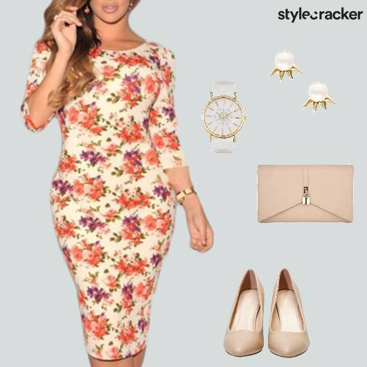Bodycon Floral Dress Pumps Clutch Lunch - StyleCracker
