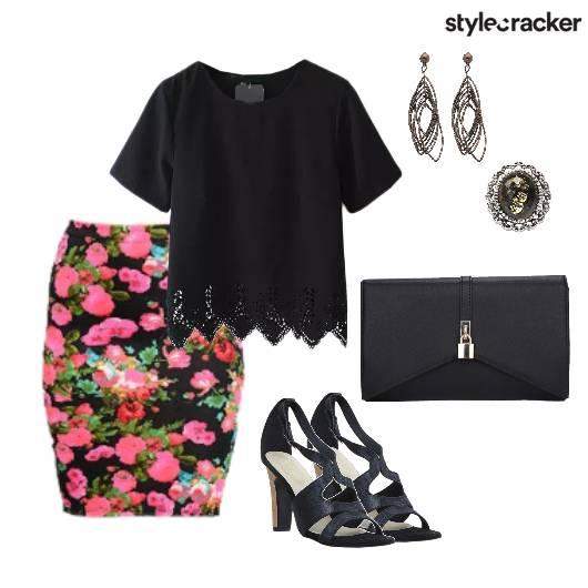 Floral Skirt Lace Top Dinner Formal - StyleCracker