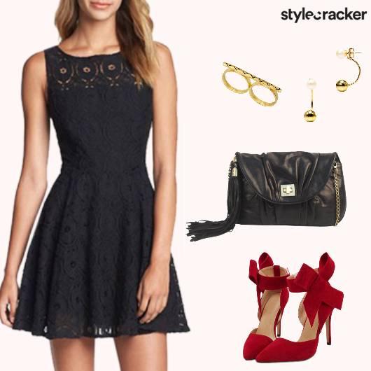 Party Lace Dress ContrastHeels - StyleCracker
