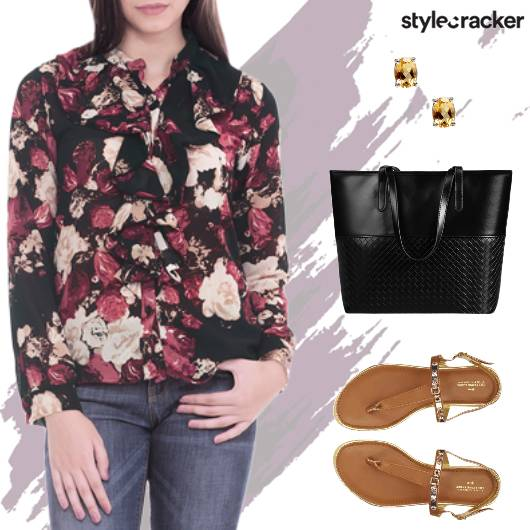 Printed ButtonDown Shirt Denims - StyleCracker
