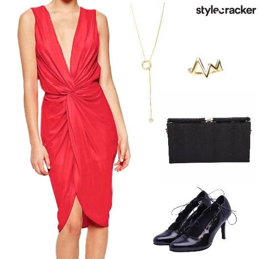 Dress  Pumps laceup  Clutch Ynecklace Party - StyleCracker