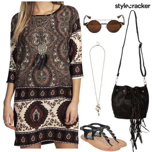 Print Summer Dress Fringe - StyleCracker