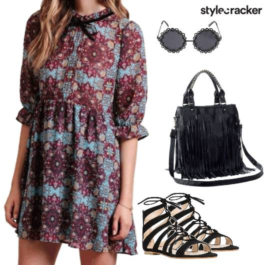 Dress Printed Laceup Flats Fringebag Casual - StyleCracker