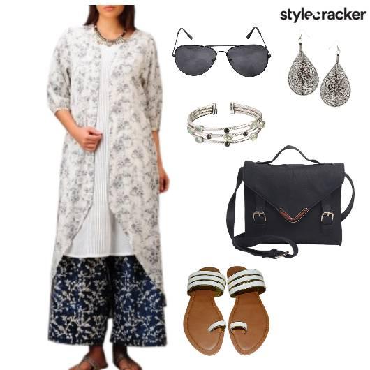 Print Kurta Palazzo Summer Indian  - StyleCracker
