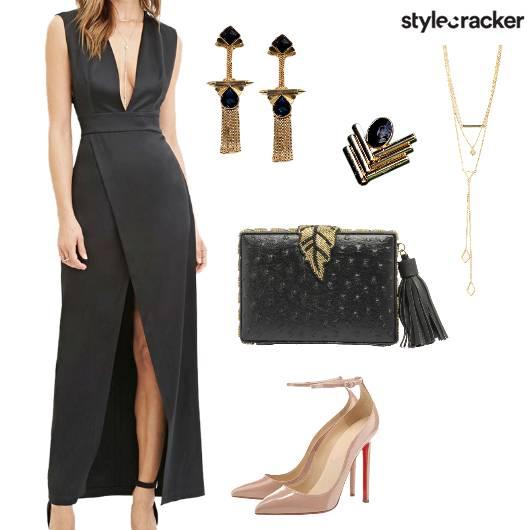VNeck Slit Long Dress Party Night - StyleCracker