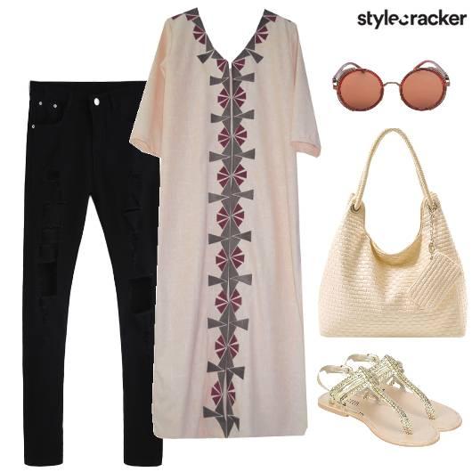 Ripped Jeans Kurta Casual Summer Work  - StyleCracker