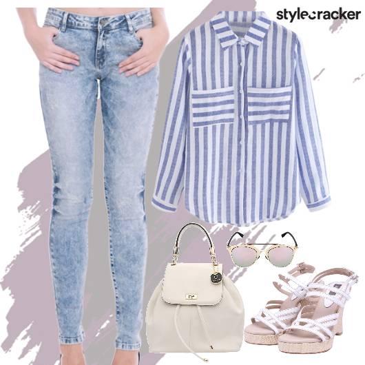 StripeShirt SkinnyJeans StrappyWedges Lunch  - StyleCracker