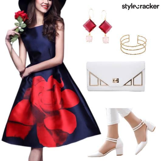 FloralDress Clutch Goldbracelet Blockheels - StyleCracker