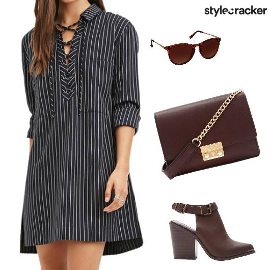 Striped LaceUp DayDress ShirtDress - StyleCracker