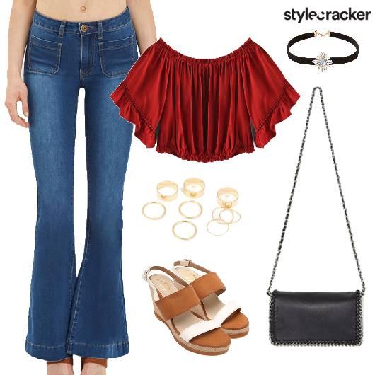Straight pants OffShoulder Top Summer - StyleCracker