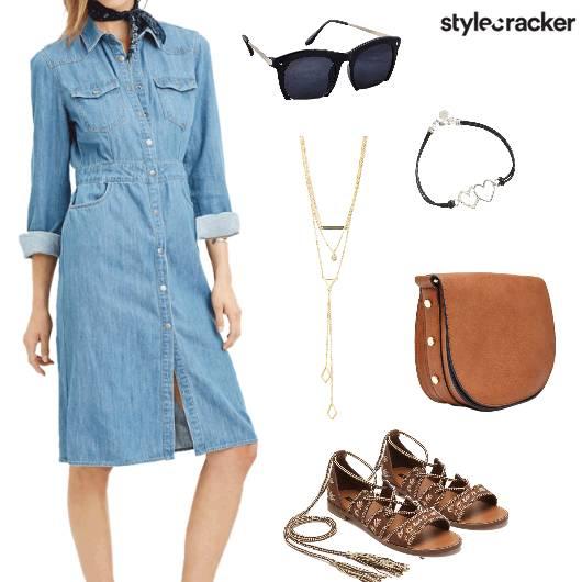 Denim Dress Casual Summer Brunch - StyleCracker