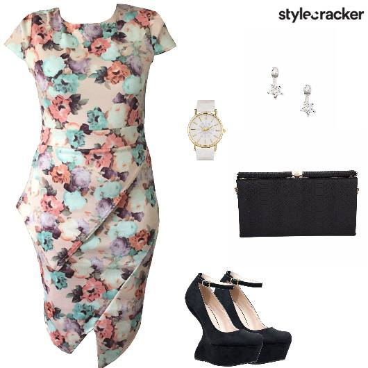 Bodycon Floral Pumps Clutch Work - StyleCracker