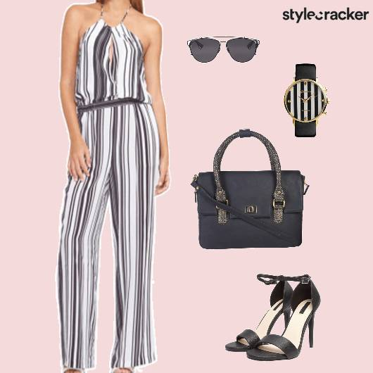 Jumpsuit Handbag Heels Dinner - StyleCracker