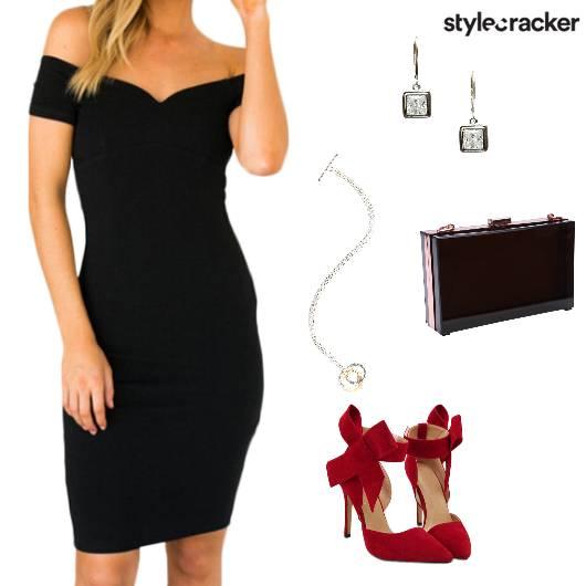 Offshoulder Dress pumps boxclutch dinner - StyleCracker