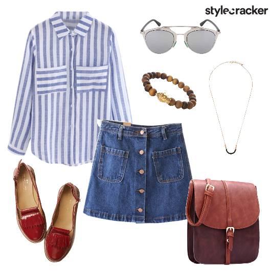 Stripe Shirt Denim Skirt Casual - StyleCracker