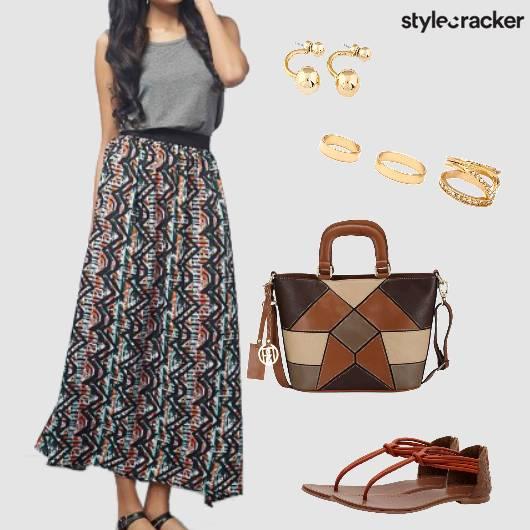 Maxidress Flats Handbag Casual Brunch - StyleCracker