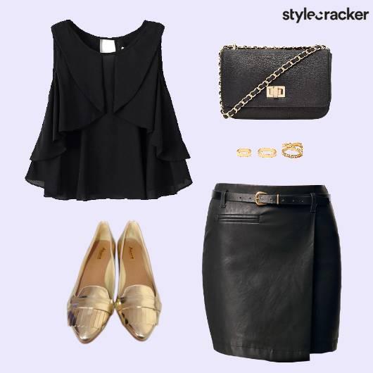 RuffleBlouse Leather Skirt Ballet  Party - StyleCracker
