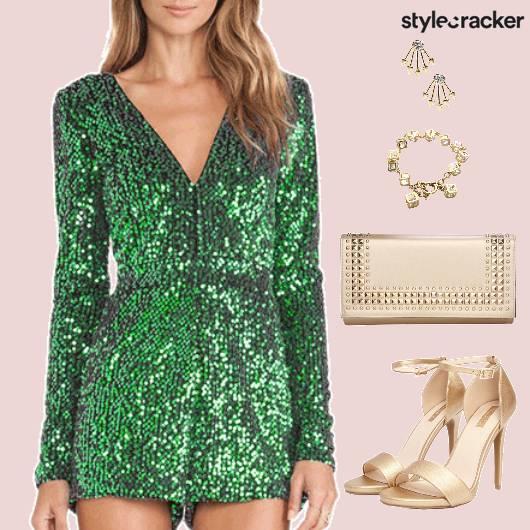 Shimmer Jumpsuit StrapPumps Clutch Dinner  - StyleCracker