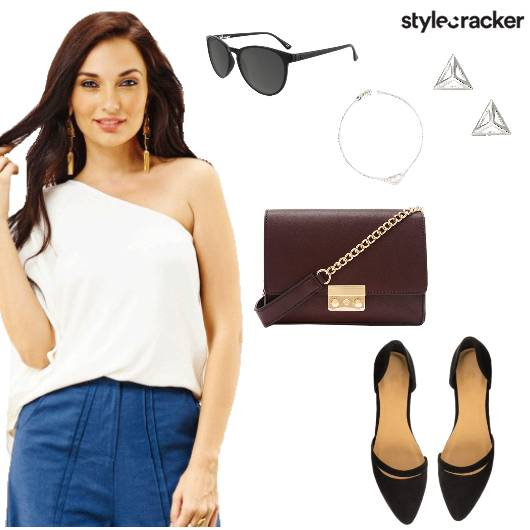 OneShoulder Top Jeans Summer Lunch - StyleCracker