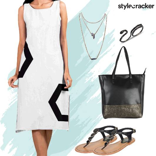 Casual Day Midi Dress LayeredNecklace - StyleCracker