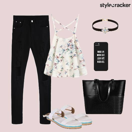 Top Distressedjeans Tote Flats Casual - StyleCracker