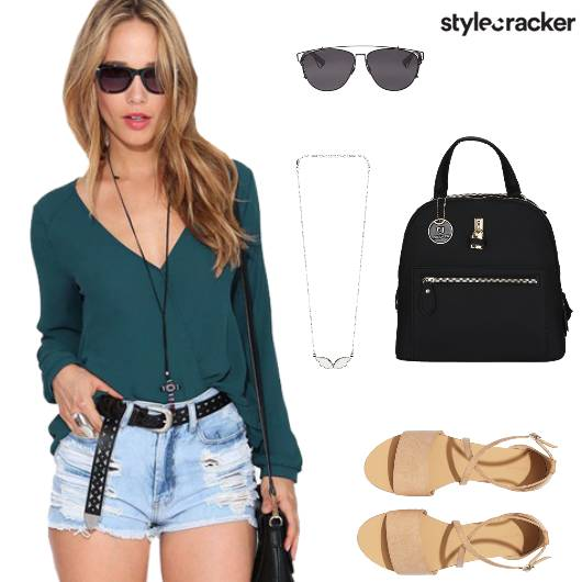 Top Shorts Flats Backpack Casual - StyleCracker