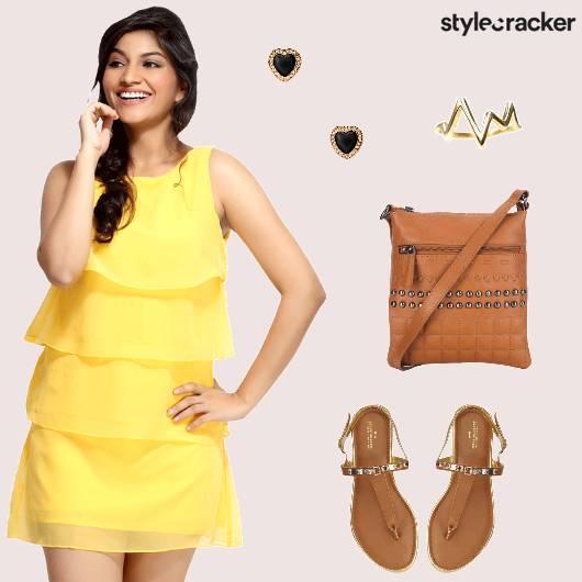 Ruffled Dress Slingbag Flats Studs Casual - StyleCracker