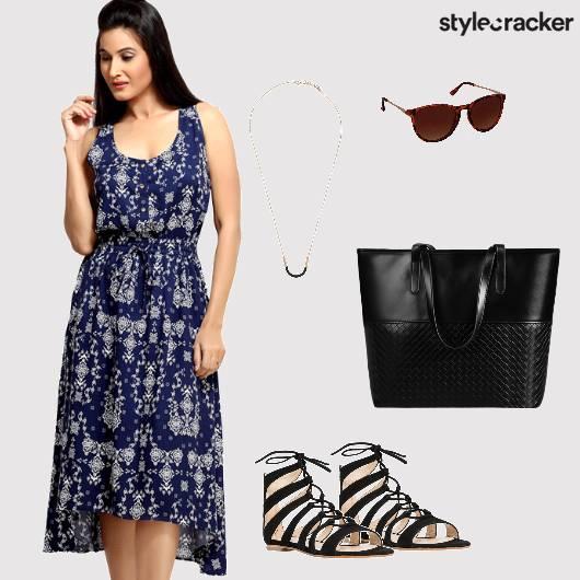 Dress Printed Asymmetric Flats Tote Bag Brunch - StyleCracker