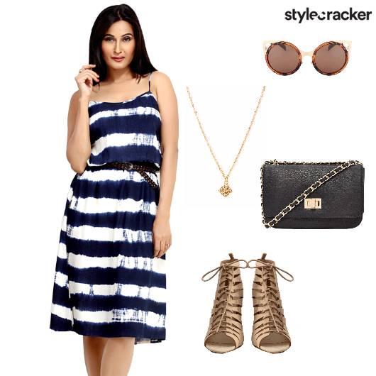 Dress Midi Heels Peeptoes Slingbag Shopping - StyleCracker