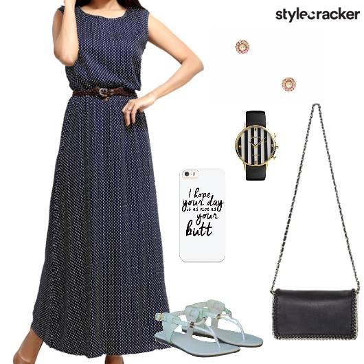 Maxidress Flats Slingbag Watch Casual - StyleCracker