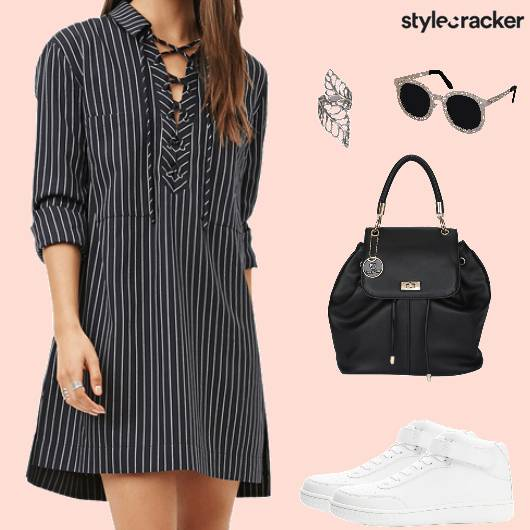 Casual Monochrome Shirt Dress - StyleCracker