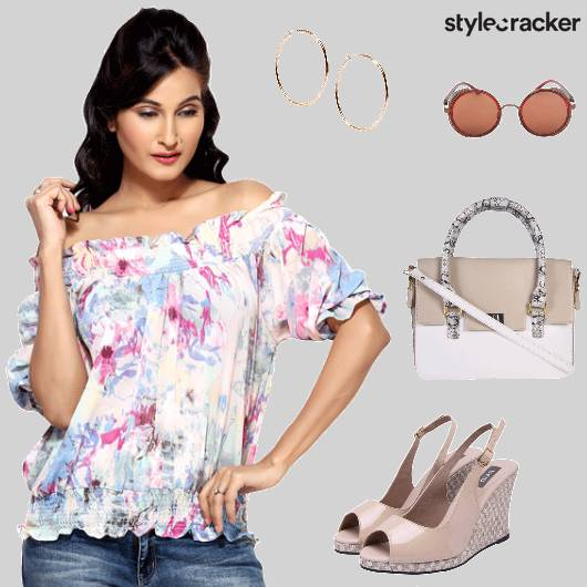Floral topFlared Pants Slingbacks Slingbag Casual - StyleCracker