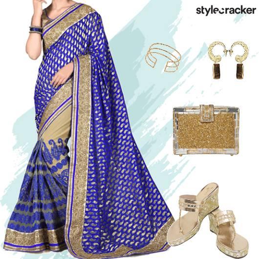 Festive Ethnic Indian Saree  - StyleCracker