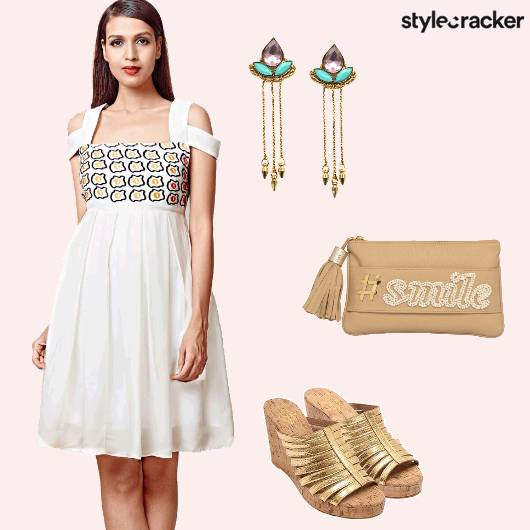 CutOutDress Wedges TasselClutch Earrings Contemporary - StyleCracker