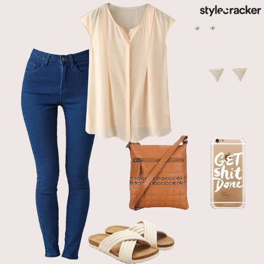 Top Jeans Slingbag Flats Casual School - StyleCracker
