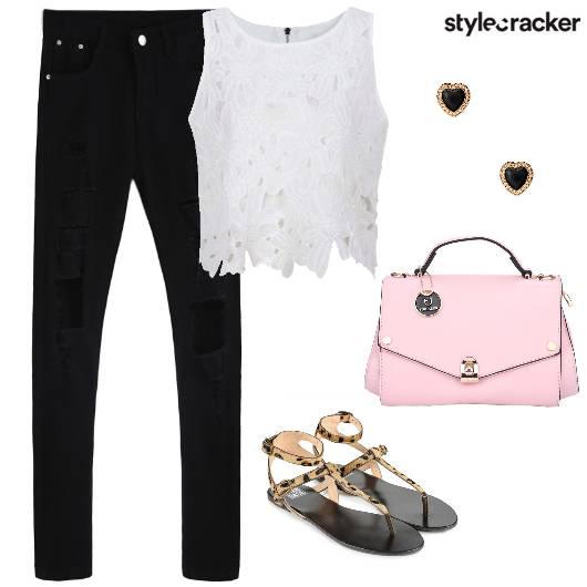 LaceTop Denim StrappyFlats PastelBag  - StyleCracker