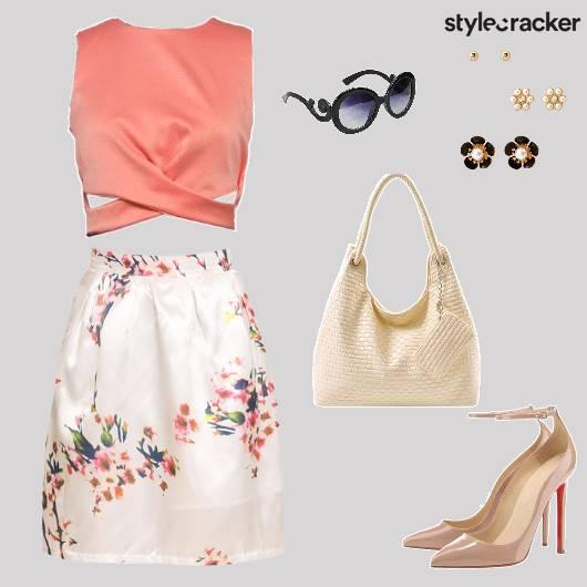 Croptop Skirt Pumps handbag Brunch - StyleCracker
