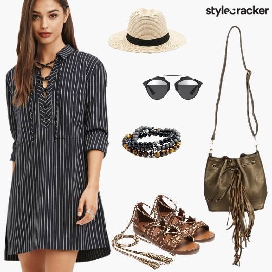 Shirt Dress LaceUps Summer Concert - StyleCracker