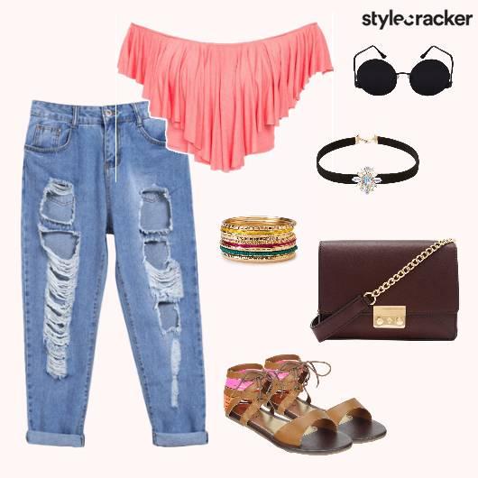 Ripped Jeans offShoulder Top Summer Concert - StyleCracker