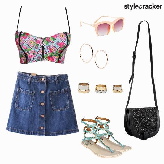 Print Bralet Denim Skirt Summer Concert - StyleCracker