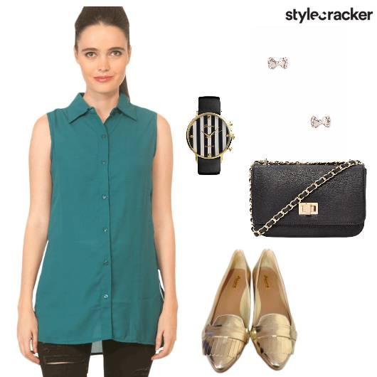 Top Jeans Flats Slingbag Watch Lunch - StyleCracker