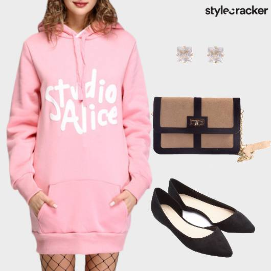 Sweaterdress Casual Pink  - StyleCracker