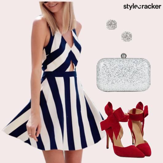 Monochrome Striped Dress Party - StyleCracker
