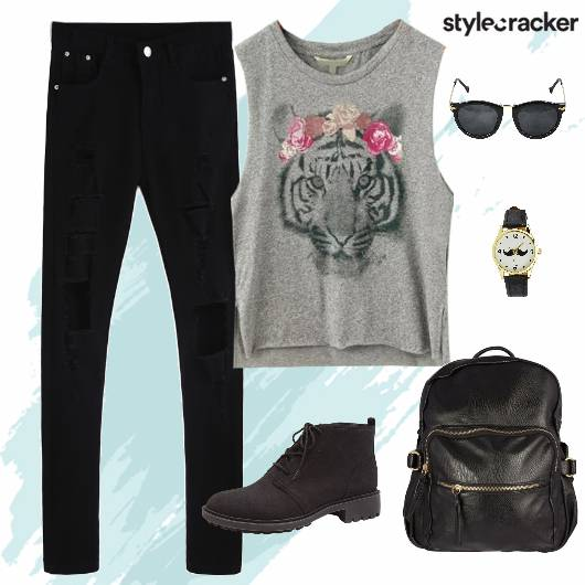Tshirt RippedDenims Boots  BackPack College - StyleCracker