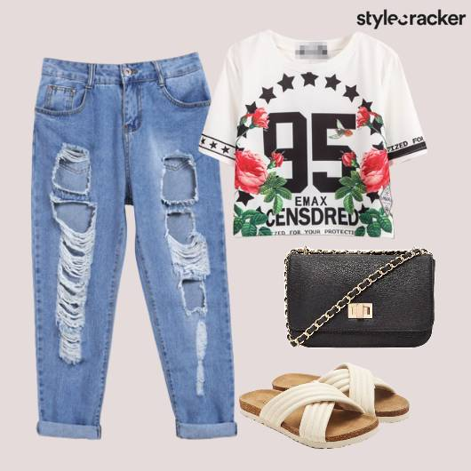 Ripped Jeans Casual Boxy Tee Flats - StyleCracker