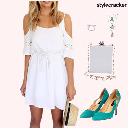 OffShoulder Dress Slingbag LayeredNeckpiece Lunch - StyleCracker